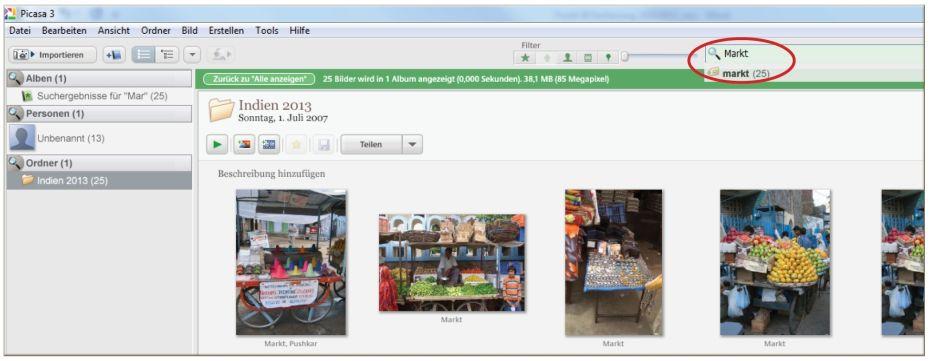 Die Sortierung der Fotos mit Picasa
