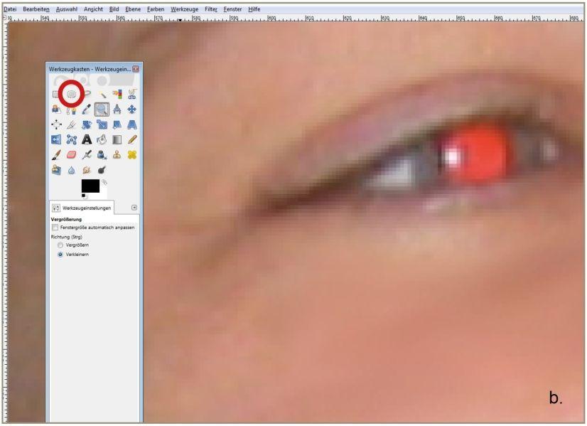 Rote Augen entfernen - Punkt B