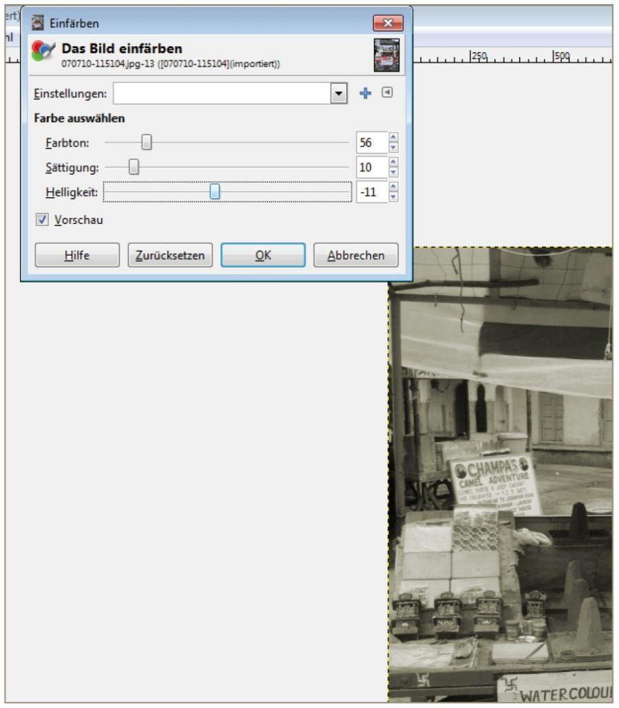 Sepia Effekt GIMP