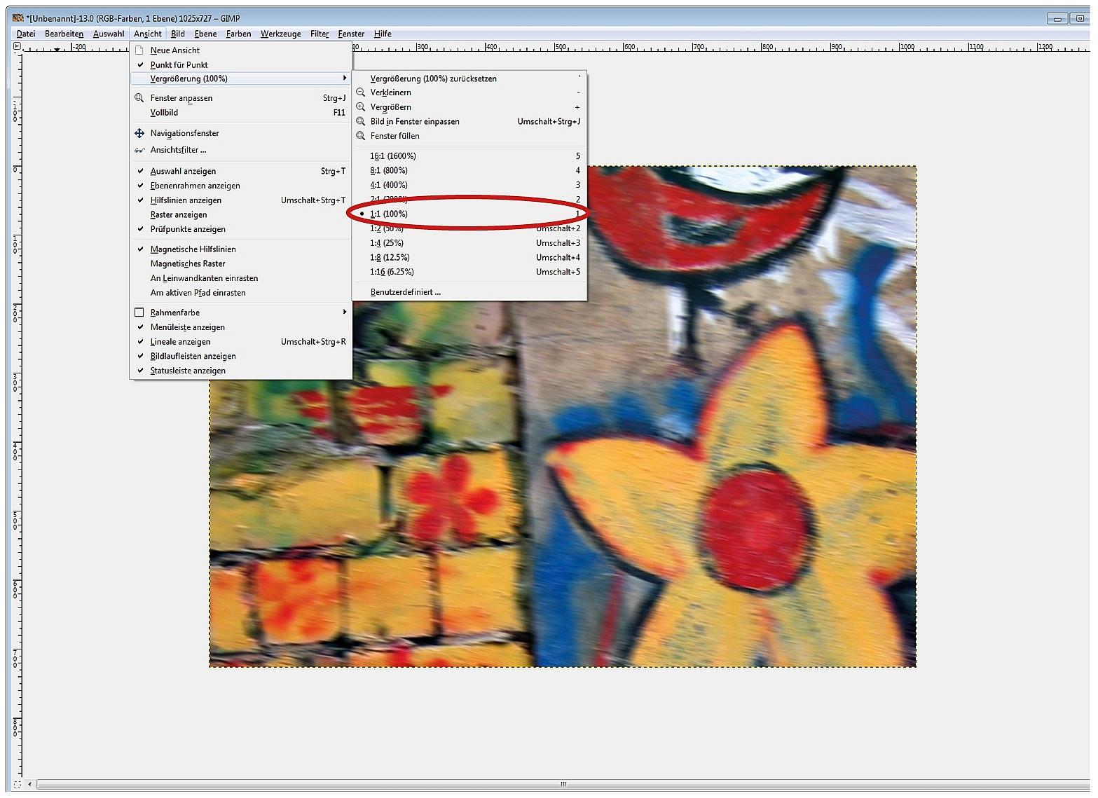 Foto mit 100% der Bildgröße auf dem Monitor anzeigen lassen
