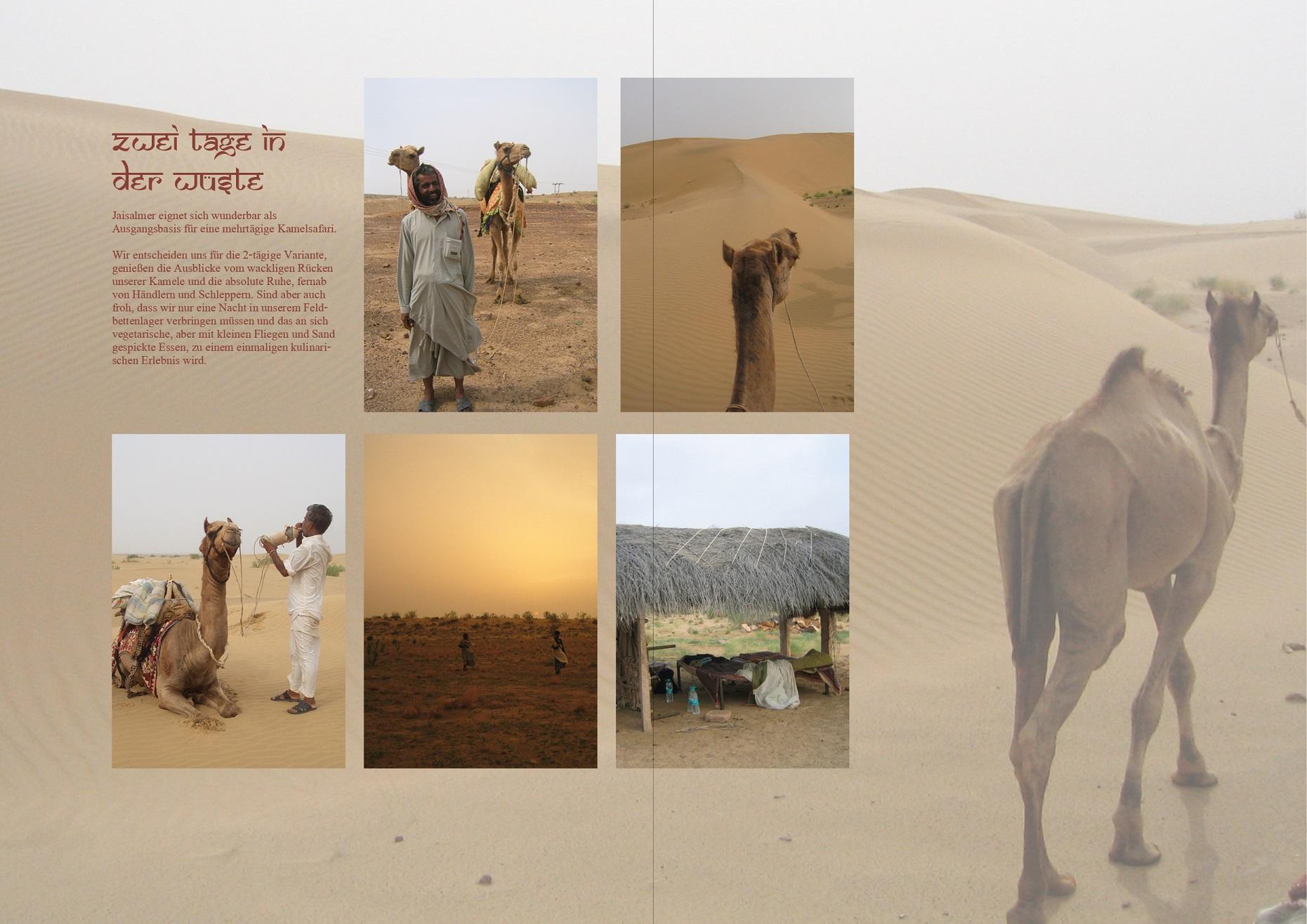 Beispielseite aus einem Fotobuch mit vielen Bildern aber auch erklärendem Text