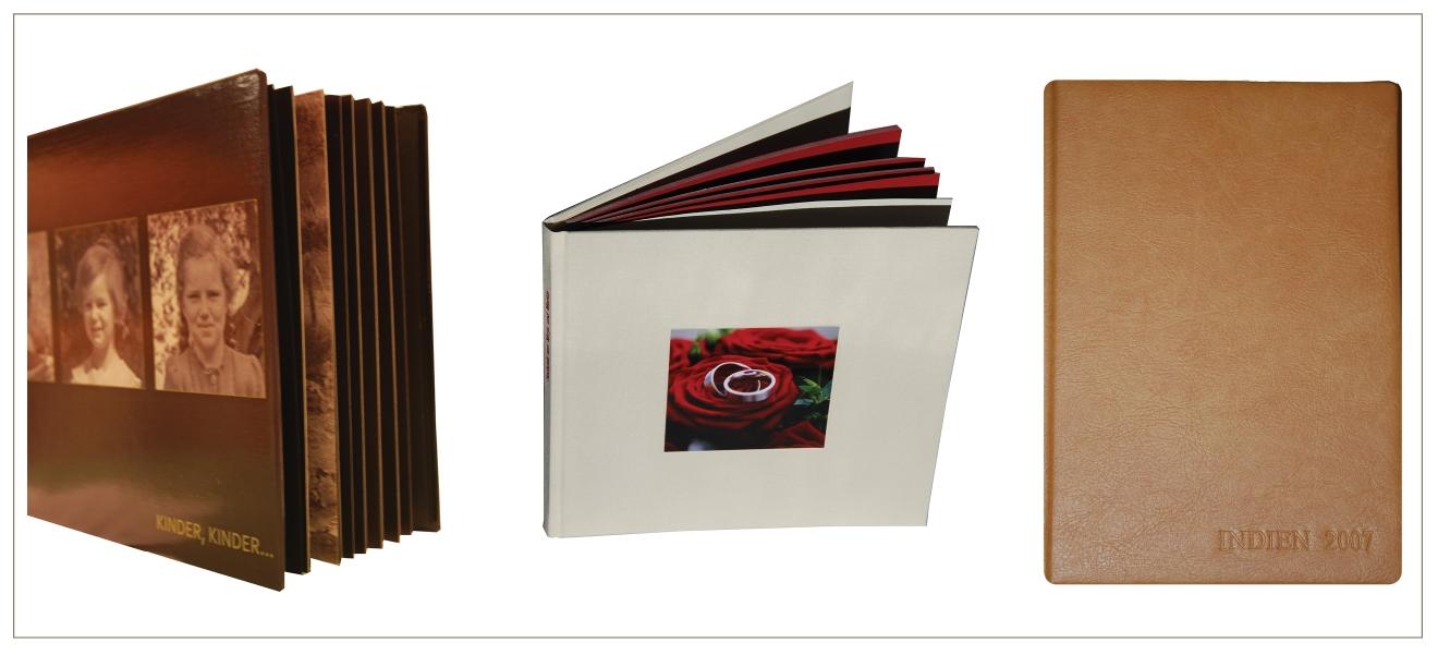 Beispiele von links: Hardcover, Leinencover mit eingebettetem Foto, Ledereinband