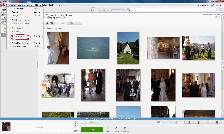 Fotos in neuer Reihenfolge speichern mit Picasa