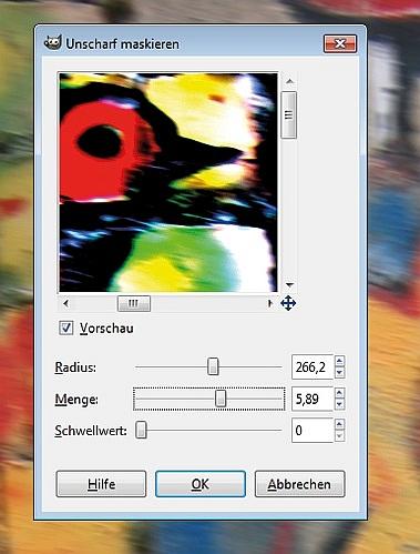 Fotos mit GIMP unscharf maskieren: die Parameter kurz erklärt