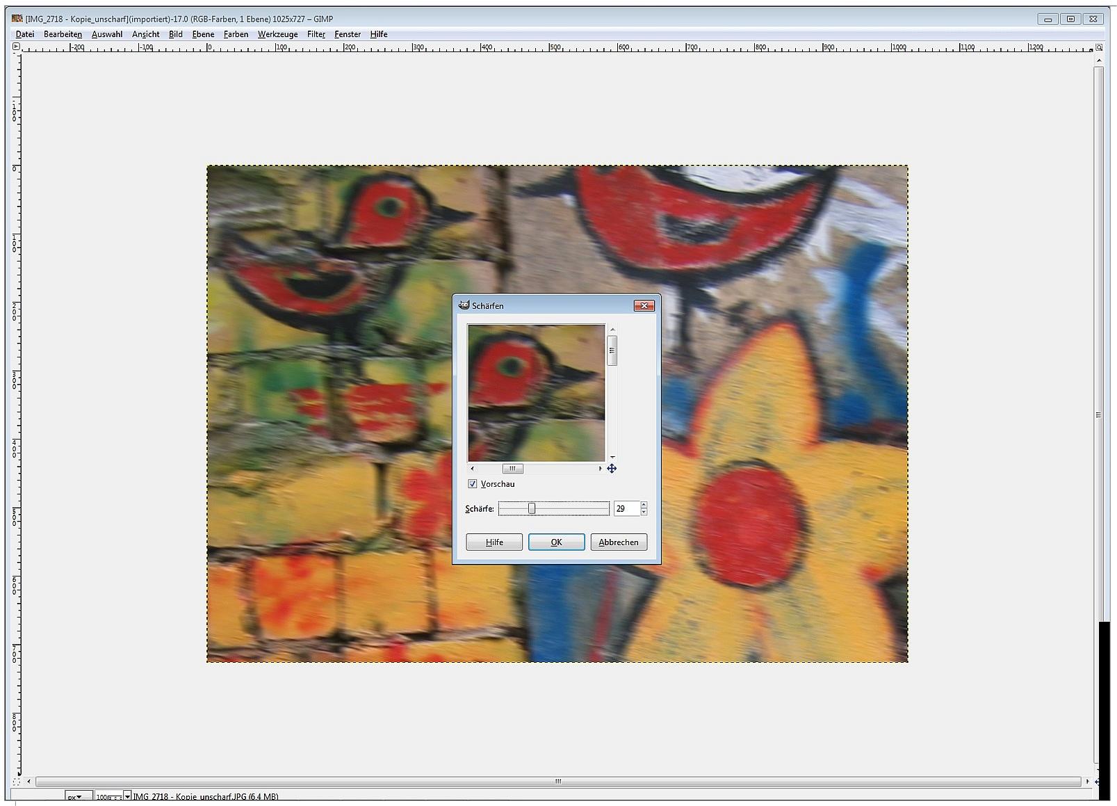 Die Vorschau des mit GIMP geschärften Fotos