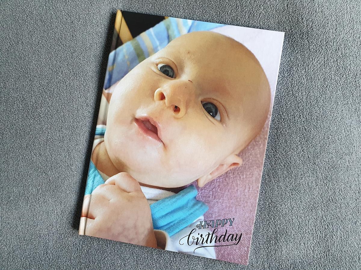 Das Cover unseres Testfotobuchs von Bilder.de in der Aufsicht