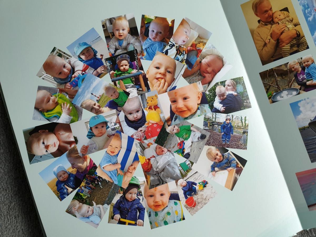 Die Collage bietet die Software von albelli bereits mit leeren Fotoplatzhaltern als Layoutvorlage an