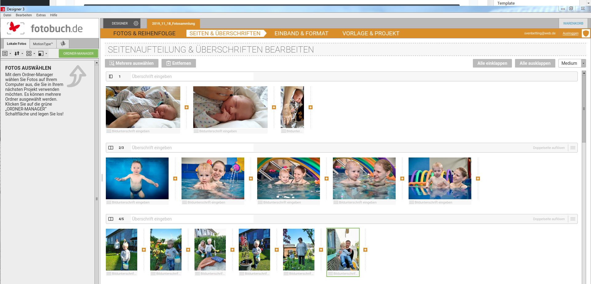 Beim DESIGNER 3 werden die Fotos vor Beginn der Gestaltung bereits auf Seiten verteilt. Dies ist ein Gewinn an Übersichtlichkeit und Planbarkeit der Seiten.