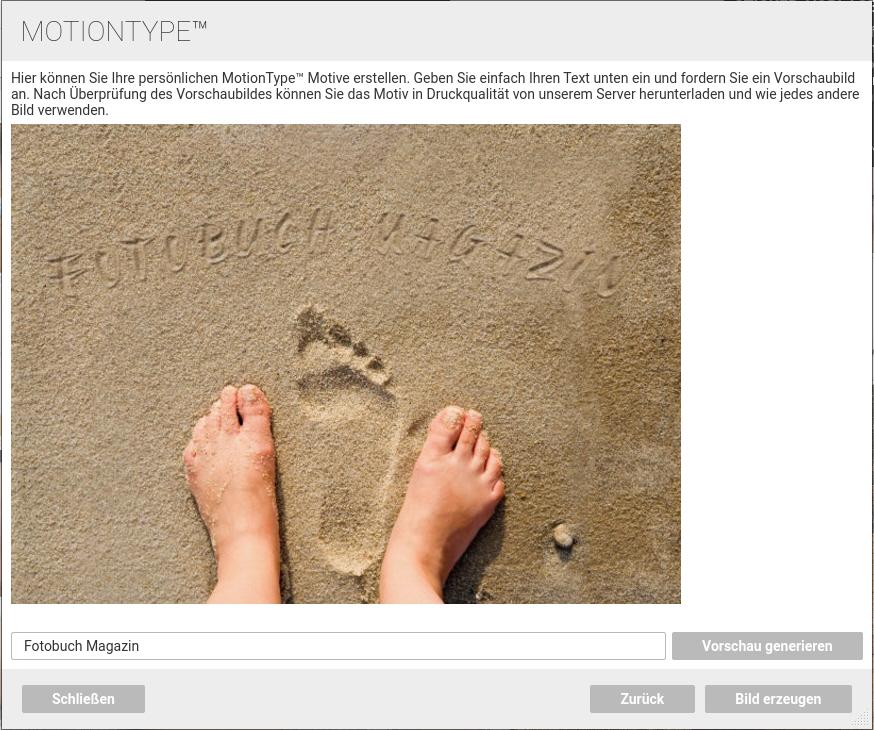 MotionType Foto mit eigenem Text generiert die Fotobuch Software binnen Sekunden
