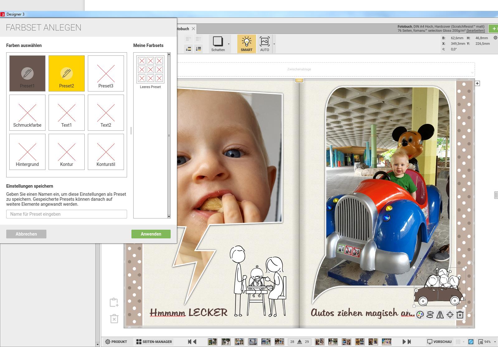 Sticker können einfach den eigenen Farbwünschen angepasst werden. Texte in den Stickern sind nicht statisch, sondern können verändert werden. Bei vielen Fotobuchgestaltern sind die Sticker statisch.